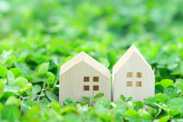 緑の中にある2つの木でできた家